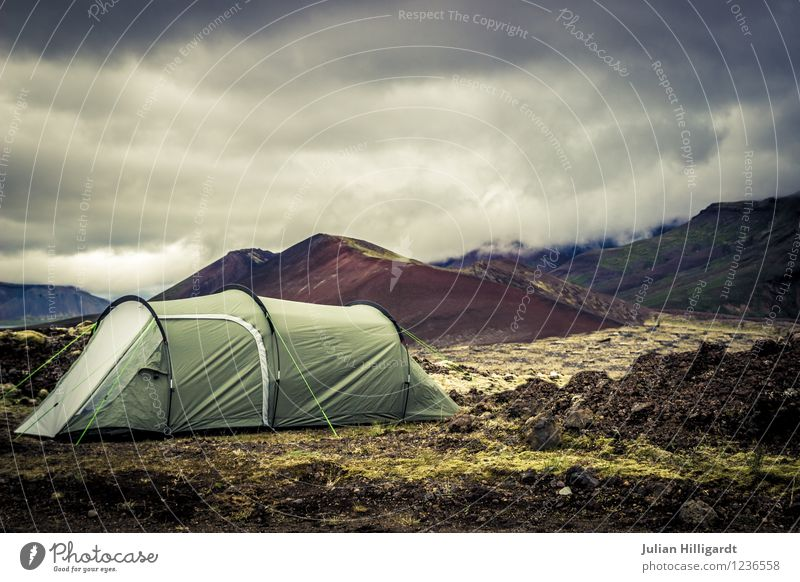 wild camp Lifestyle Tourism Trip Adventure Far-off places Freedom Expedition Camping Environment Nature Landscape Plant Sky Wilderness Iceland Volcano Tent