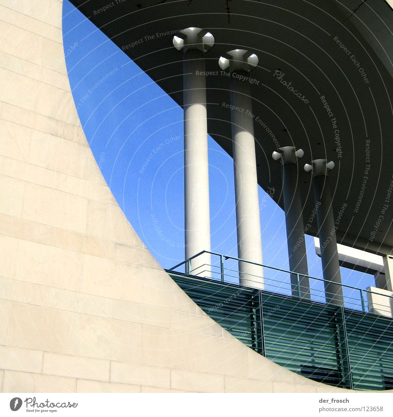 Sky Berlin Building Architecture Concrete Round Hollow Column Capital city Spreebogen Federal Chancellery