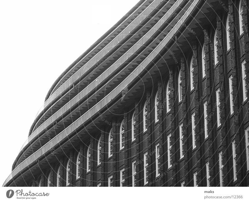 chilehaus2 Gray scale value Balcony Window Brick Architecture Hamburg Black & white photo