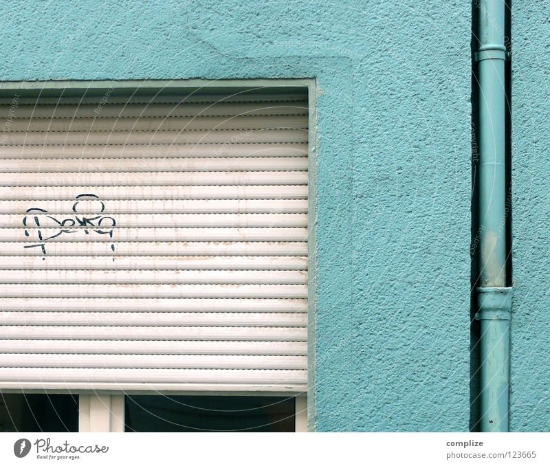 I'm blue! House (Residential Structure) Roller shutter Town Daub Lubricant Painting and drawing (object) Sleep Drainage Drainpipe Rain gutter Painted Paintwork