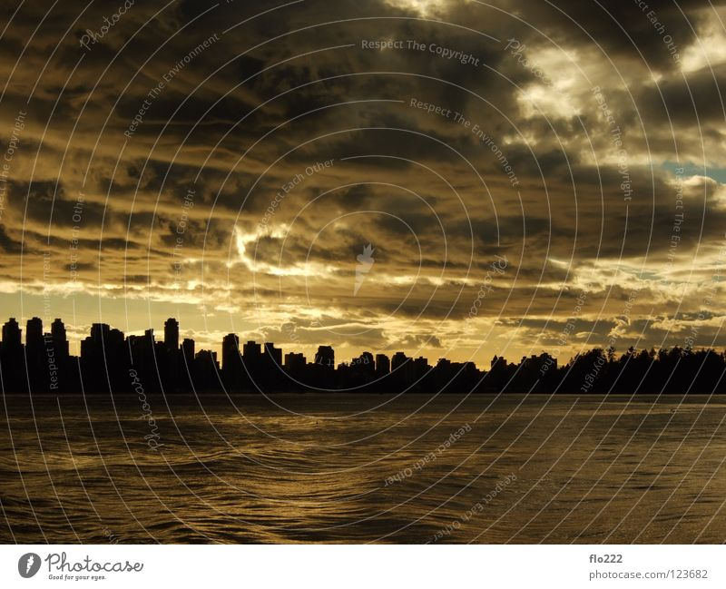 Vancouver Town British Columbia Canada Sunset Clouds Moody Ocean Panorama (View) Skyline Dramatic Large Clouds in the sky Silhouette Cloud pattern Cloud cover