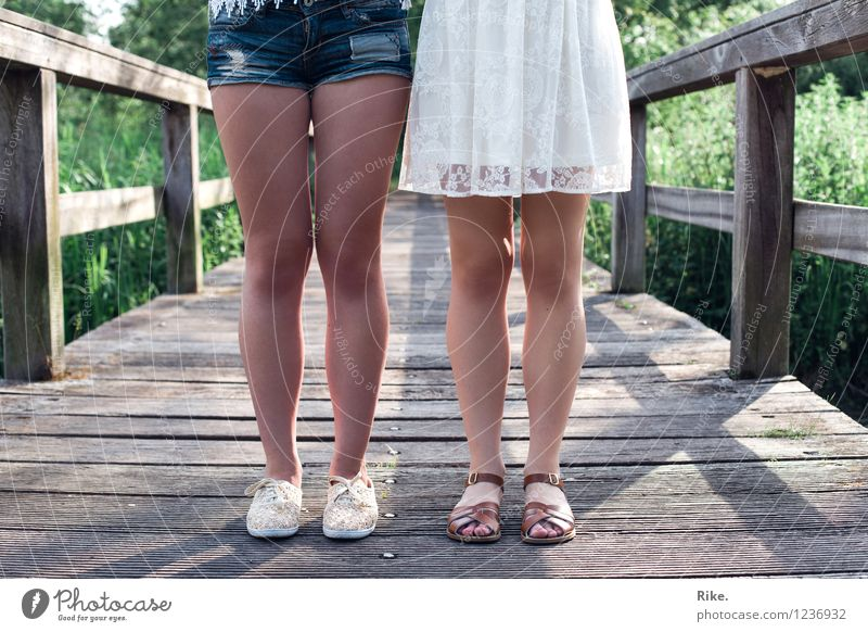 Sisters. Lifestyle Summer vacation Human being Feminine Young woman Youth (Young adults) Brothers and sisters Family & Relations Friendship Couple Legs 2