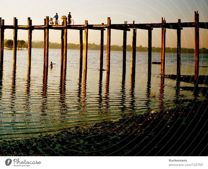 Human being Water Wood Lake Transport Bridge River Asia Connection Dusk Brook Pole Myanmar Teak Mandalay