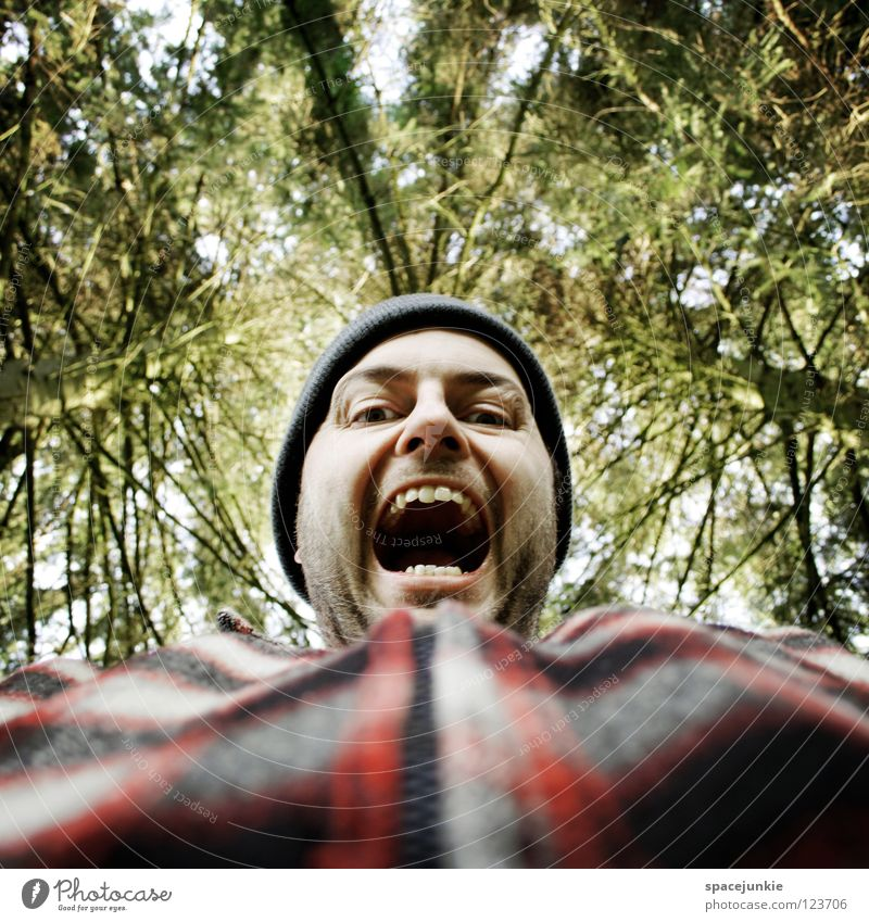 In the forest Forest Tree Man Profession Wood Panic Accident Aggravation Evil Aggression Freak Portrait photograph Anger Redneck Unfair Beast Heartless