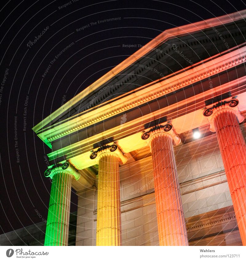 In a different light Historic Rainbow Night Dark Light Green Yellow Red Temple Ornament Column Colour Lighting Orange USA Monument Reichstag Old Stone