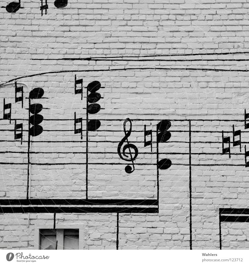 Street music I House (Residential Structure) Facade Wall (barrier) Black White Music Listening Window Street art Design Gray scale value Detail Musical notes