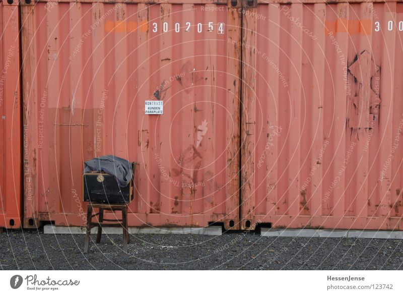 Red Loneliness Time Characters Wait Clothing Hope Chair Trust Hat Suitcase Freeze God Coat Divide Container