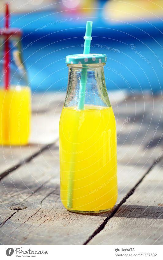 Delicious refreshment! Beverage Cold drink Lemonade Orange juice Bottle Glass Glassbottle Lifestyle Joy Leisure and hobbies Vacation & Travel Summer vacation