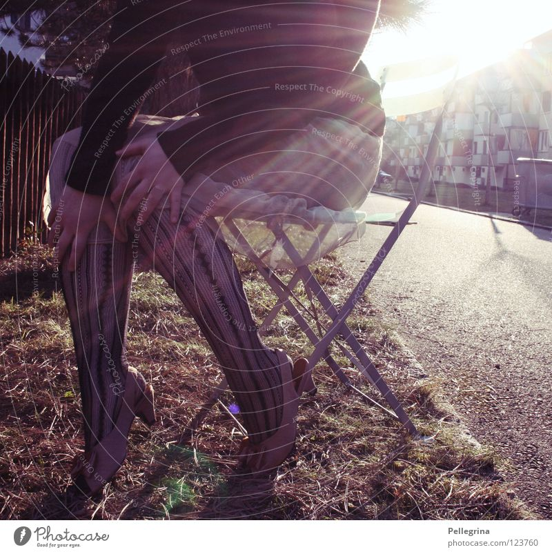 Woman Hand Sun Colour Street Legs Lighting Footwear Sit Chair Dress Net Stockings Snapshot Captured Block