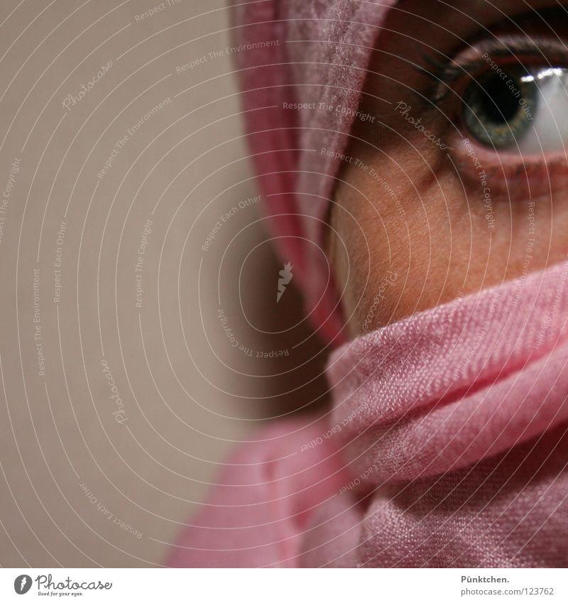 Pink cloth Eyelash Pupil Green Gray Black Wall (building) Wrapped around Cheek Vulnerable Feeble Fear Caution Hesitate Wink Woman Eyes Iris Shadow lash line