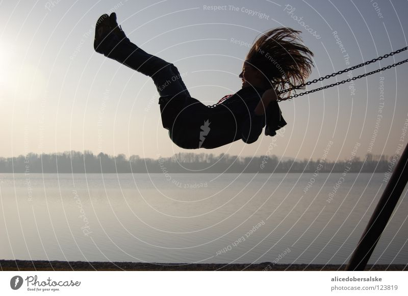 Joy Laughter Hair and hairstyles Lake Wind Flying To hold on Swing Playground Snapshot