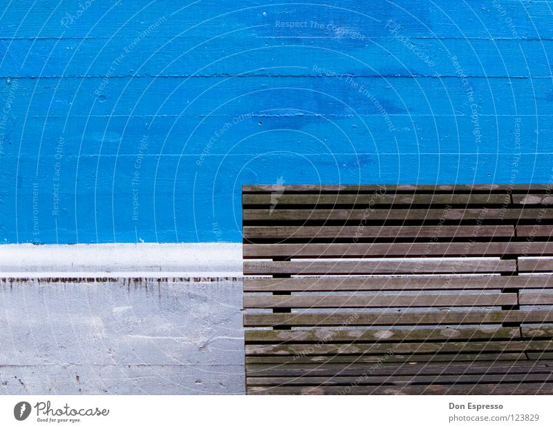 Minimal! Wall (building) Wall (barrier) Wooden bench Bremen White Brown Graphic Traffic infrastructure Blue Bench Line Illustration Reduce