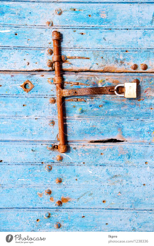 morocco in africa the old wood Style Design Decoration Building Architecture Door Rust Old Dirty Retro Blue Safety Protection Safety (feeling of) lock Access