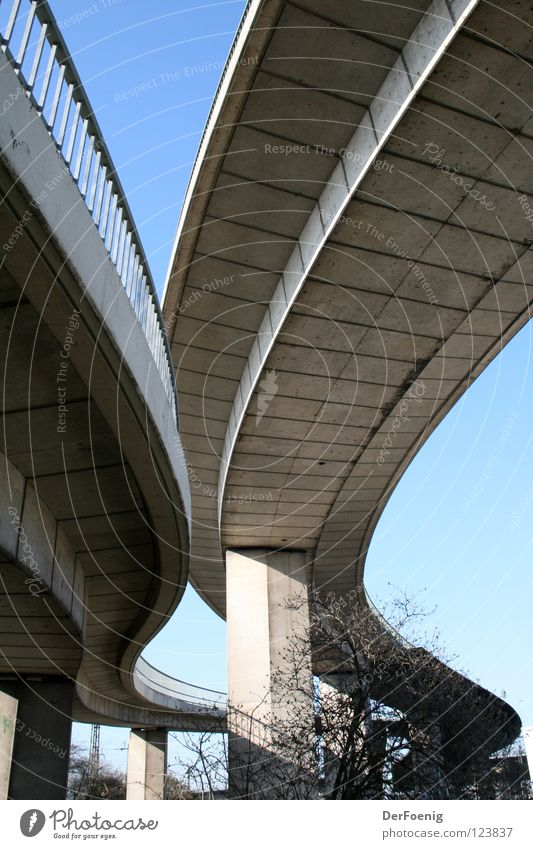 Neuss concrete Concrete Car bridge Curved Neuss district Bridge Street from below pillar construction Blue sky