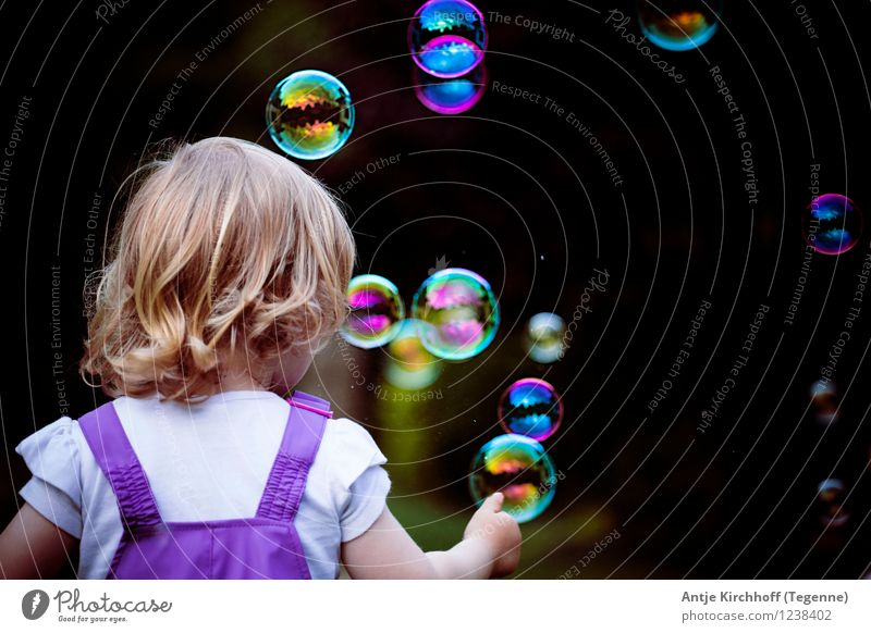 Bubbles - Catching soap bubbles Feminine Child Toddler Girl Sister 1 Human being 1 - 3 years Playing Colour photo Multicoloured Day Rear view
