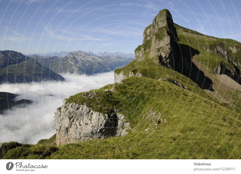 Nature Summer Landscape Clouds Mountain Freedom Weather Tourism Fog Hiking Beautiful weather Peak Alps Climbing Switzerland Summer vacation