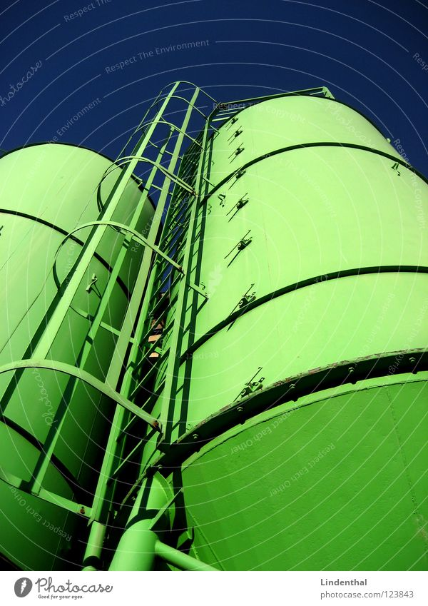 silos Silo Green Lime Industry Attic Blue Sky Ladder Grain Sand Storage