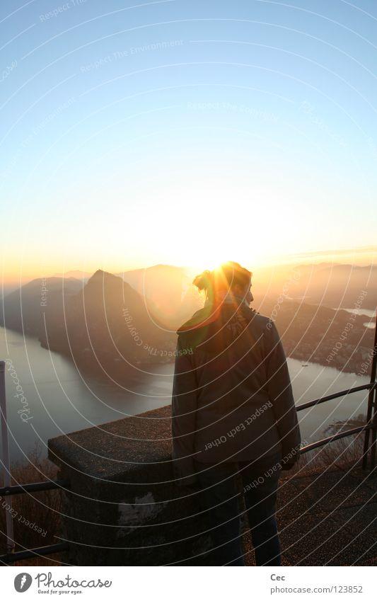 Woman Water Sky Sun Blue Loneliness Mountain Dream Lake Gold Hope Future Vantage point Switzerland Handrail Dusk
