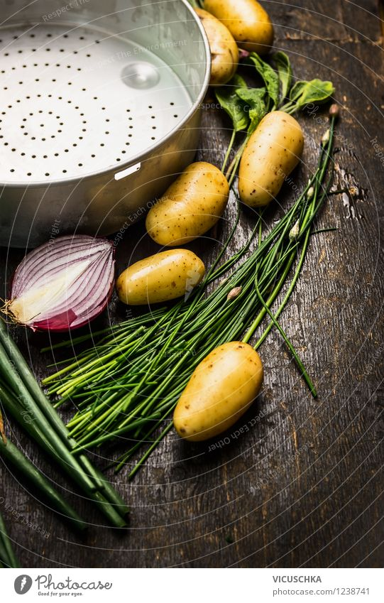 Preparing young potatoes on a wooden table Food Vegetable Herbs and spices Nutrition Lunch Dinner Organic produce Vegetarian diet Diet Style Design