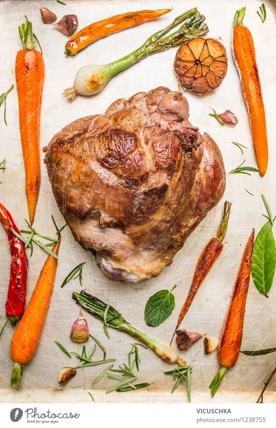 Leg of lamb roast with roasted vegetables Food Meat Vegetable Herbs and spices Nutrition Banquet Style Design Healthy Eating Life Feasts & Celebrations Easter