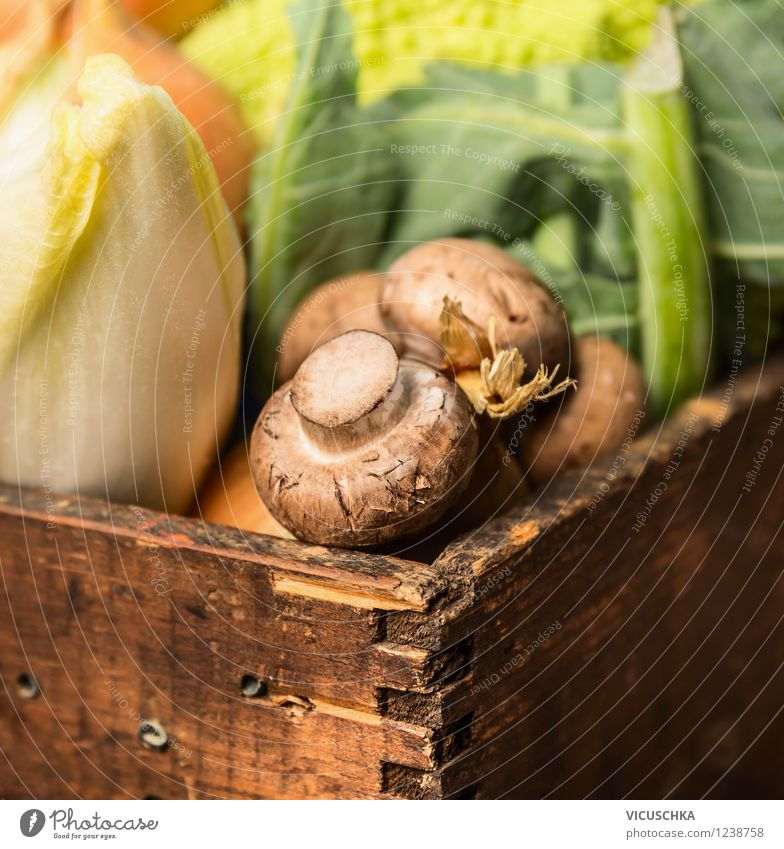 Mushrooms with vegetables in old wooden box Food Vegetable Nutrition Organic produce Vegetarian diet Diet Style Design Healthy Eating Life Garden Nature