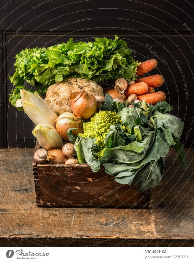 Old wooden box with garden vegetables Food Vegetable Lettuce Salad Nutrition Lunch Dinner Organic produce Vegetarian diet Diet Style Design Healthy Eating Life