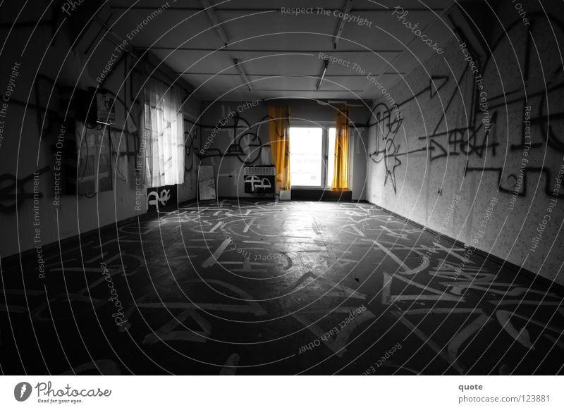 White Black Loneliness Dark Graffiti Room Orange Empty Mysterious Derelict Destruction Inscription Vandalism Selective Smeared Runes