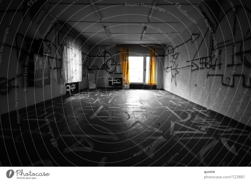 White Black Loneliness Dark Graffiti Room Orange Empty Mysterious Derelict Destruction Inscription Vandalism Selective Smeared Runes