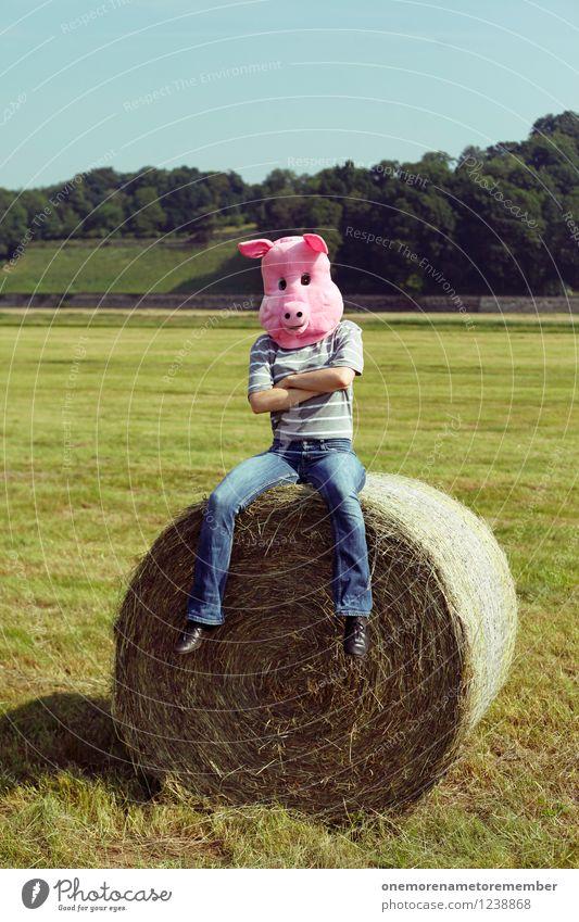 Joy Think Art Pink Esthetic Wait Youth culture Mask Work of art Costume Swine Comical Absurdity Funster Stranger Bale of straw