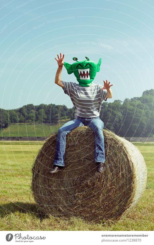 Green Landscape Joy Art Field Esthetic Mask Aggression Costume Blue sky Carnival costume Monster Comical Funster Extraterrestrial being