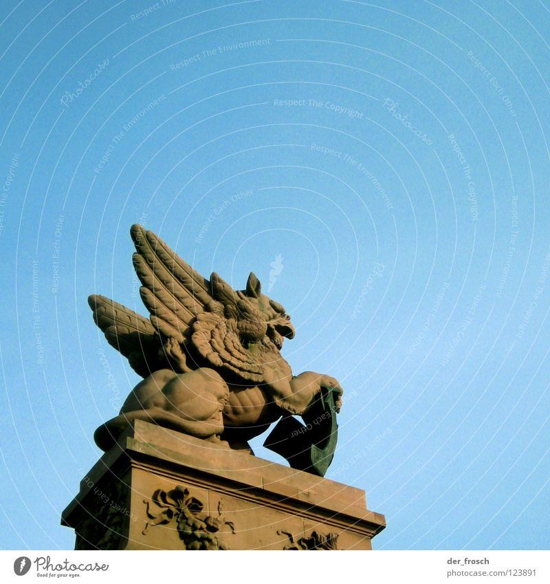Sky Blue Red Berlin Bridge Statue Monument Historic Landmark Sculptor Bird of prey Central station Federal Chancellery