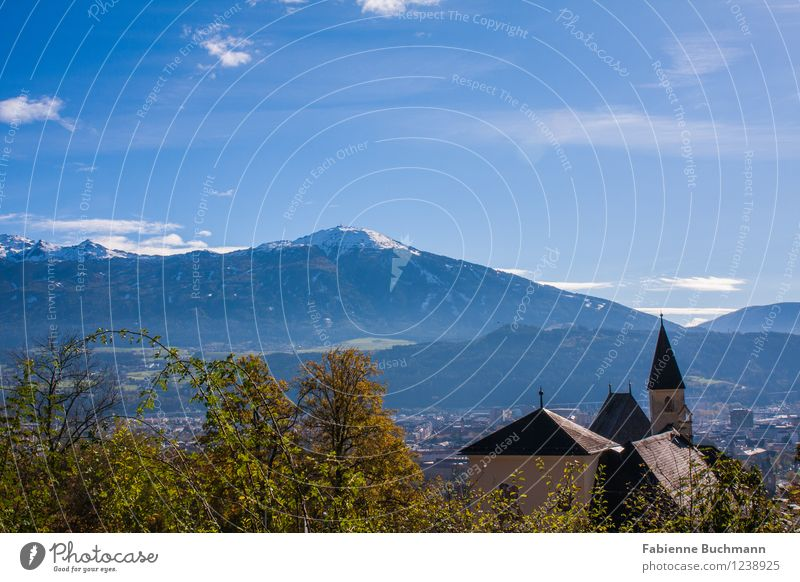 City and Mountain Environment Nature Plant Sky Autumn Beautiful weather Tree Alps Innsbruck Austria Town House (Residential Structure) Church Building Blue