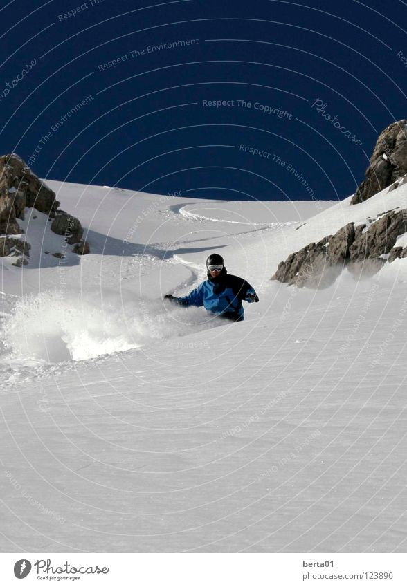 Powder Day Deep snow Peak Calm Cold Vacation & Travel Sports Playing Snow Rock Mountain To enjoy Happy Warmth Blue Sky Freedom line in heaven Dangerous