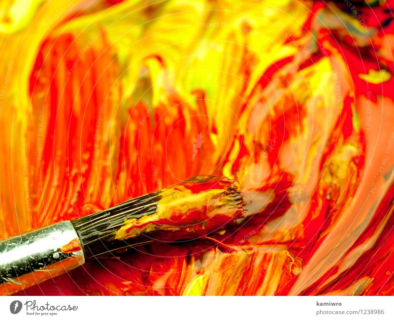 Paints and brush up on the pallet. Old Blue Green Colour Red Style Art Bright Design Dirty Creativity Draw Image Tool Conceptual design Few