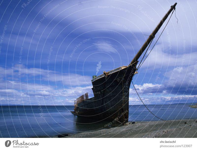Wreck 1 Watercraft South America Chile Punta Arenas Ocean Transience Time Rust Old