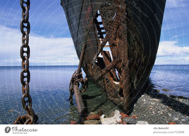 Wreck 2 Watercraft South America Chile Punta Arenas Ocean Transience Time Anchor Navigation Rust Old Chain