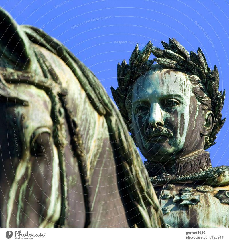 King Wilhelm II the 2. Baden-Wuerttemberg Statue Equestrian statue Green Monarchy Grand Aristocracy Stuttgart Luxury Art Arts and crafts  Landmark Monument