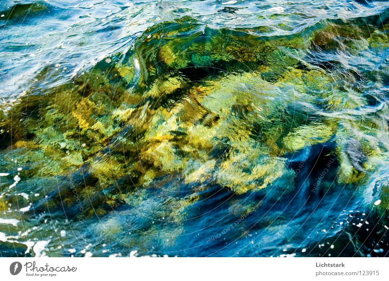 shaft II Vacation & Travel Ocean Calm Waves Green Fast-flowing stream Amber coloured Green space Gush of water Concentrate Power Force Water Colour gentle waves