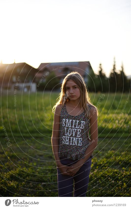 Smile, Love, Shine Style Child Girl 1 Human being 13 - 18 years Youth (Young adults) Fashion T-shirt Stand Thin Colour photo Copy Space top Evening Back-light