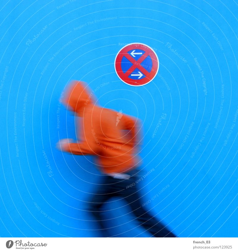 Human being Man Youth (Young adults) Blue White Beautiful Red Colour Wall (building) Movement Wall (barrier) Legs Orange Germany Going Arm