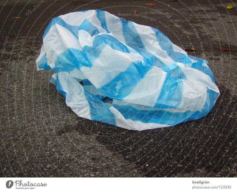 Dark Bright Lie Asphalt Trash Stripe Statue Obscure Wrinkles Striped Plastic bag Blue-white Residual waste
