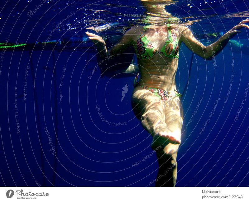 Woman Blue Water Vacation & Travel Ocean Joy Colour Healthy Swimming & Bathing Waves Leisure and hobbies Skin Perspective Dive Sunbathing Bikini