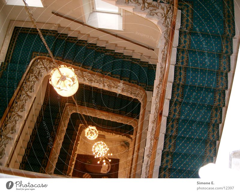 Blue Steps Hotel Vienna Chandelier Architecture Stairs blue carpet 4th floor