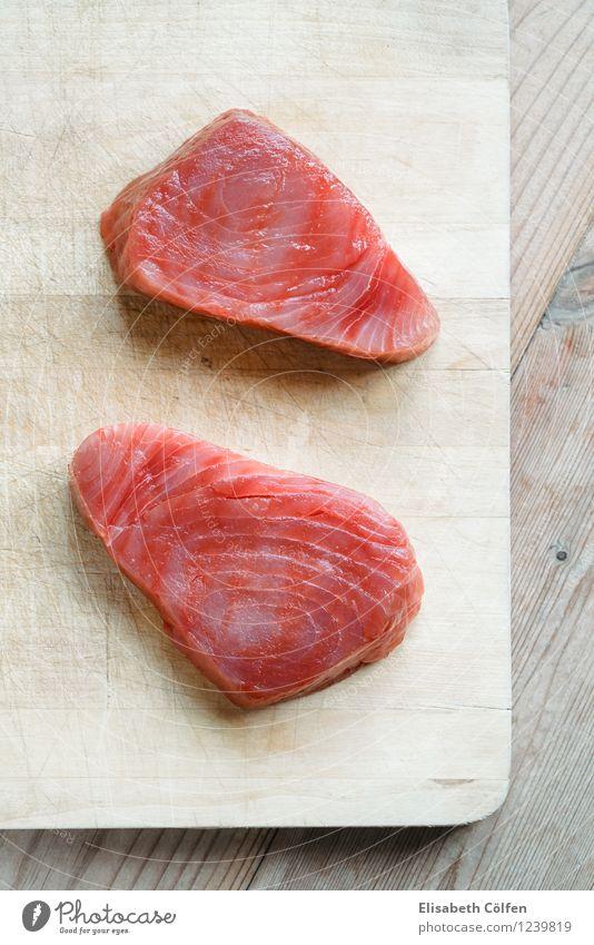 raw tuna Fish Fresh Healthy Red Raw Chopping board Ingredients Healthy Eating Tuna fish Wooden board 2 Food Colour photo Studio shot Bird's-eye view