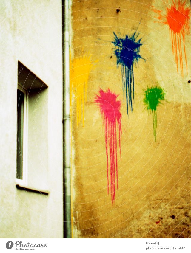 Joy House (Residential Structure) Colour Wall (building) Window Wall (barrier) Graffiti Moody Facade Gloomy Anger Force Patch Throw Aggravation Inject