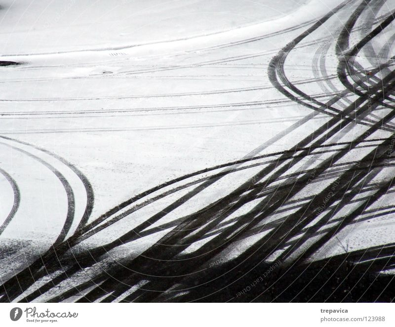 lanes II Winter White Gray Seasons Snow layer Snow track Tracks Winter maintenance program Driving Background picture Motoring Skid marks Traffic lane