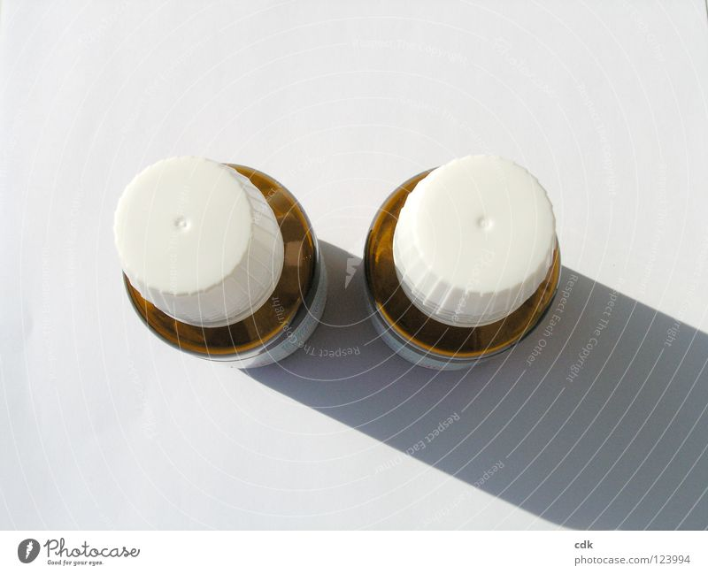 White Colour Small Brown Healthy Glass Health care In pairs Simple Bottle Still Life Medication Pill Object photography Pharmaceutics Dark side