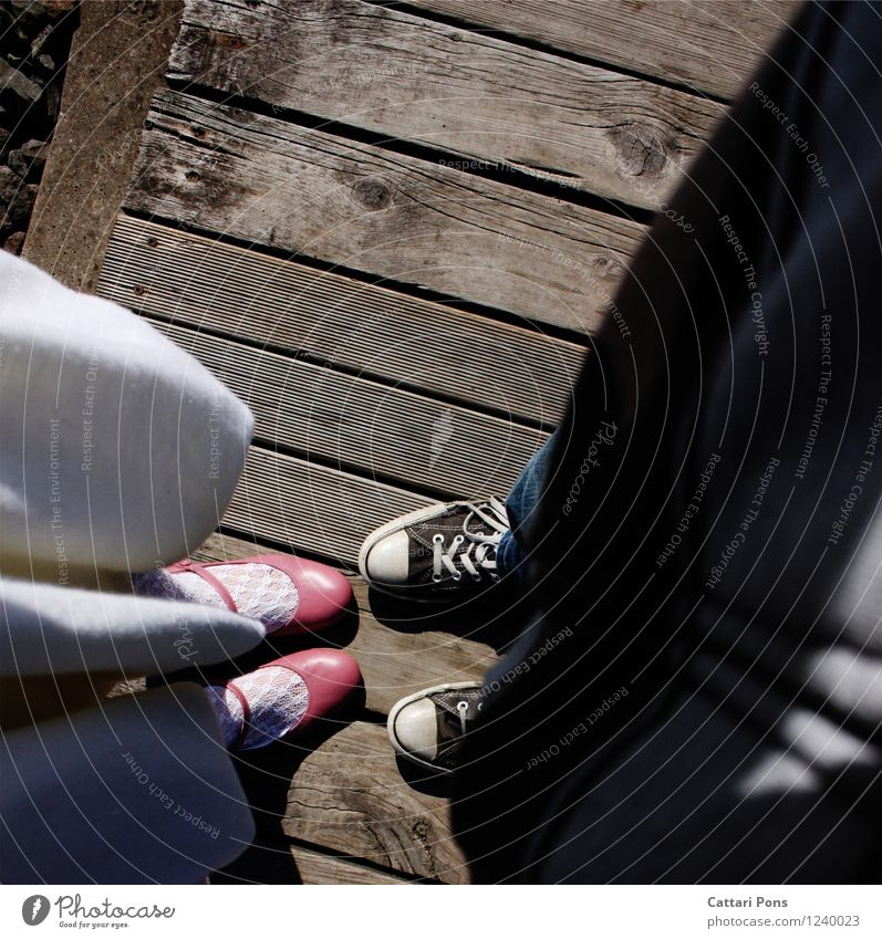 1.2.3.4 YOU and ME? Masculine Feminine Friendship Couple Partner Life Human being Jeans Dress Cloth Varnish Footwear Ballet shoe Uniqueness Natural Pink Black