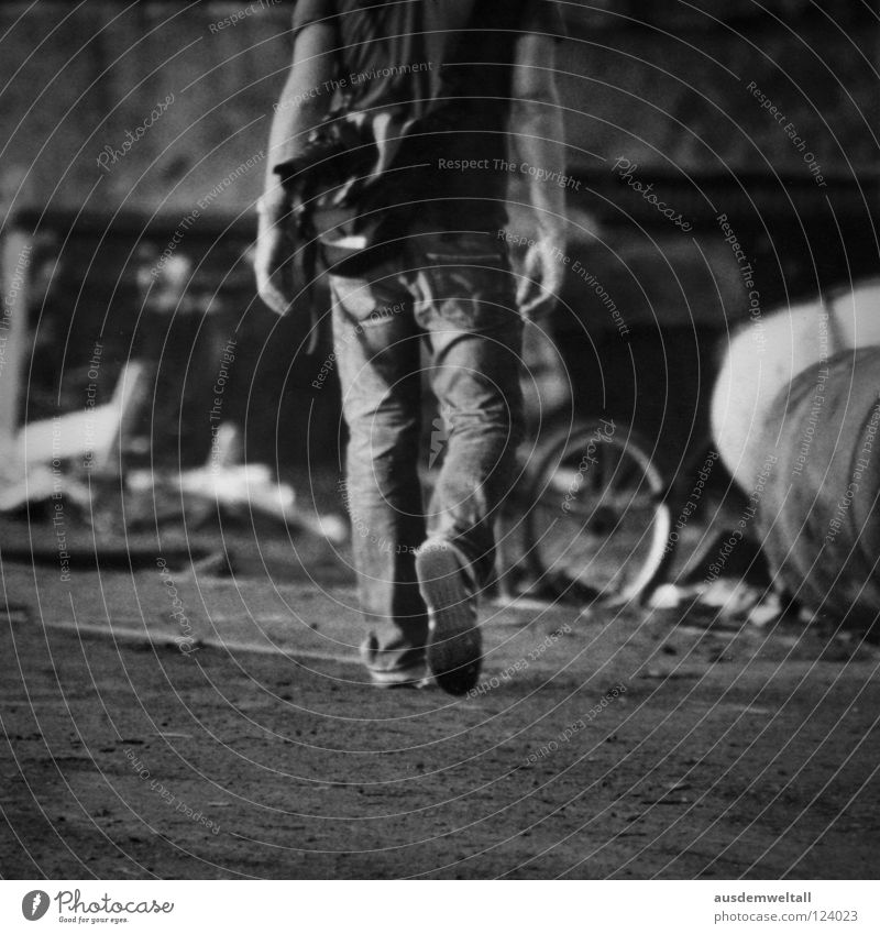 ::Headless:: Black White Man Masculine Footwear Pants T-shirt Bag Derelict Territory Summer Physics Trash Industry Black & white photo Walking Legs Arm Jeans