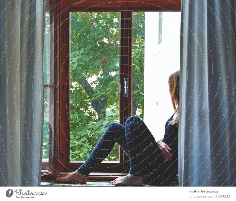 . Bedroom Feminine Young woman Youth (Young adults) Woman Adults Life 18 - 30 years Curiosity Longing Wanderlust View from a window Window Vantage point Summer